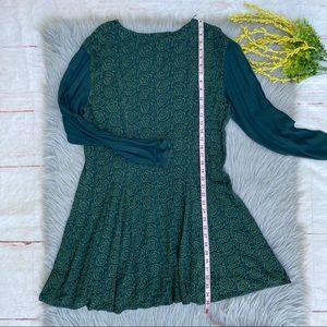 Vintage Dresses - VTG Ghost Hunter Green Embroidered Grunge Dress M